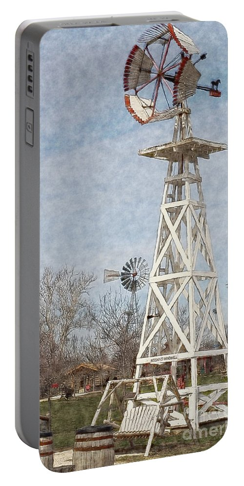 Megan's Windmill Portable Battery Charger featuring the photograph Megan's Windmill by Liane Wright