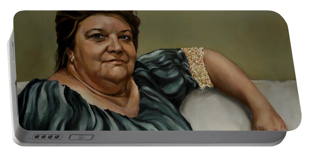 Confident Woman Portable Battery Charger featuring the painting Melanie by Jolante Hesse