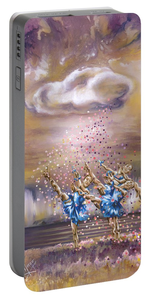 Karina Llergo Portable Battery Charger featuring the painting Melody by Karina Llergo