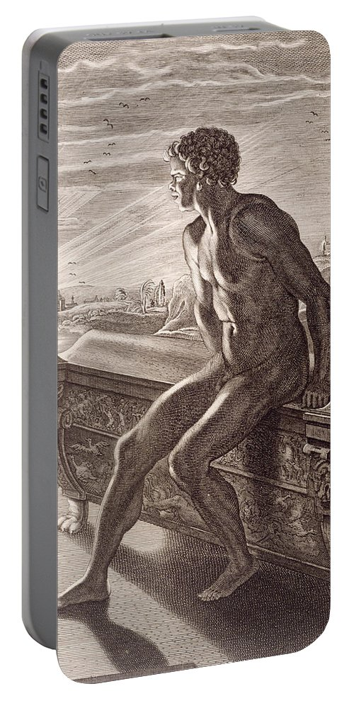 Picart Portable Battery Charger featuring the painting Memnon's Statue by Bernard Picart