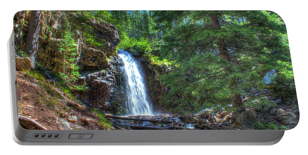 Spring Portable Battery Charger featuring the photograph Memorial Falls With Sky by John Lee