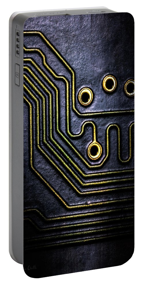 Abstract Portable Battery Charger featuring the photograph Memory Chip Number Two by Bob Orsillo