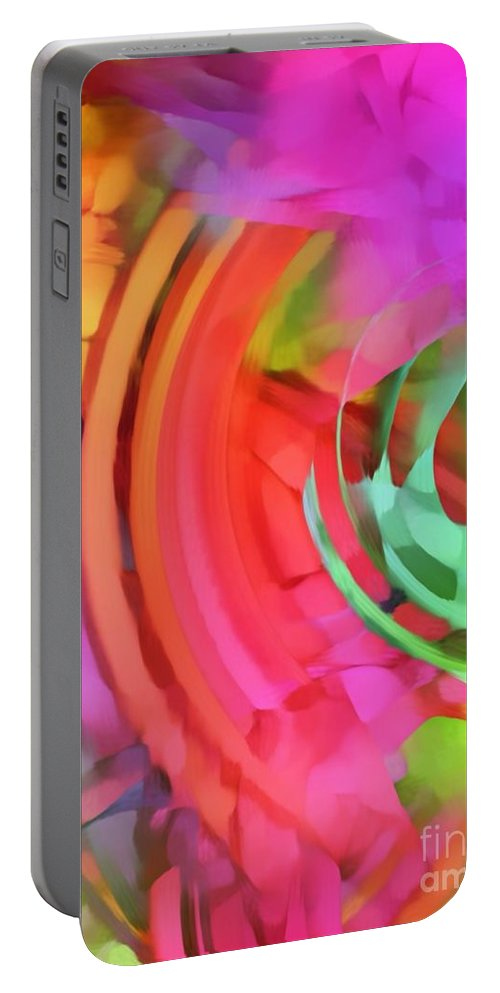 Colorful Abstract Print Portable Battery Charger featuring the mixed media Memory Ribbons by Michelle Stradford