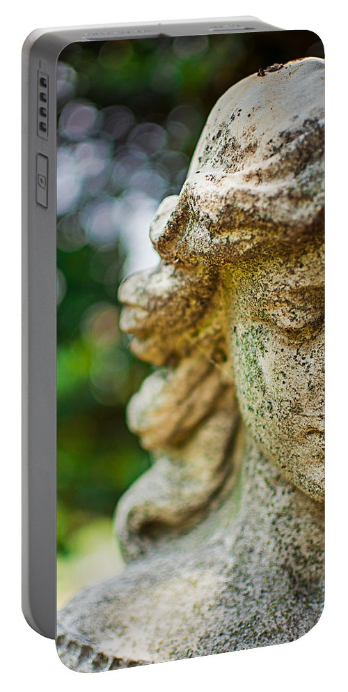 Memphis Portable Battery Charger featuring the photograph Memphis Elmwood Cemetery - Girl With Cross Close-up by Jon Woodhams