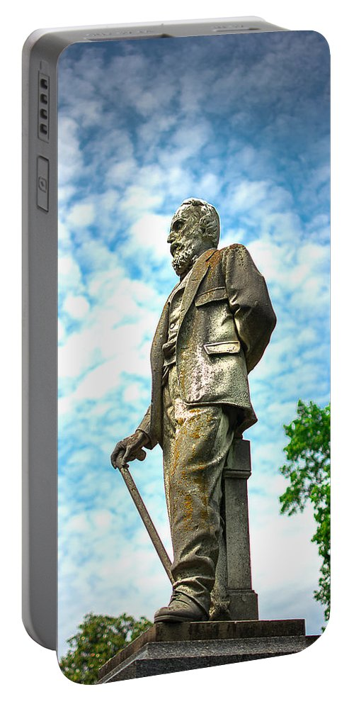 Cemetery Portable Battery Charger featuring the photograph Memphis Elmwood Cemetery - Man With Cane by Jon Woodhams