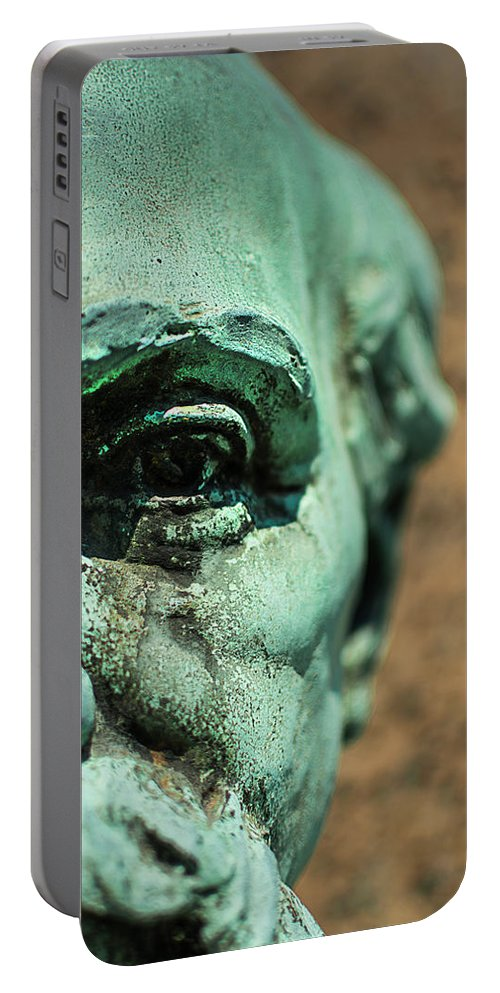Verdigris Portable Battery Charger featuring the photograph Memphis Elmwood Cemetery Monument - The Governor by Jon Woodhams
