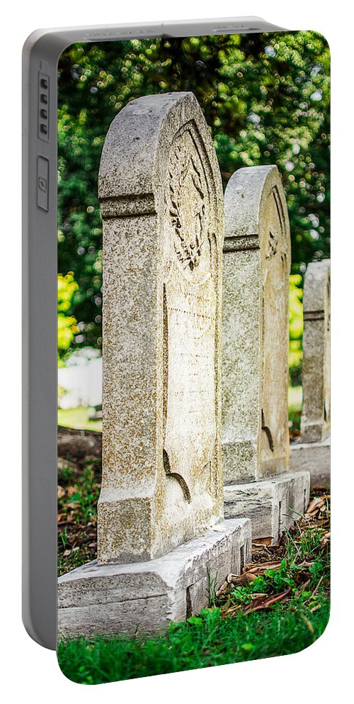 Memphis Portable Battery Charger featuring the photograph Memphis Elmwood Cemetery Monument - Four In A Row by Jon Woodhams