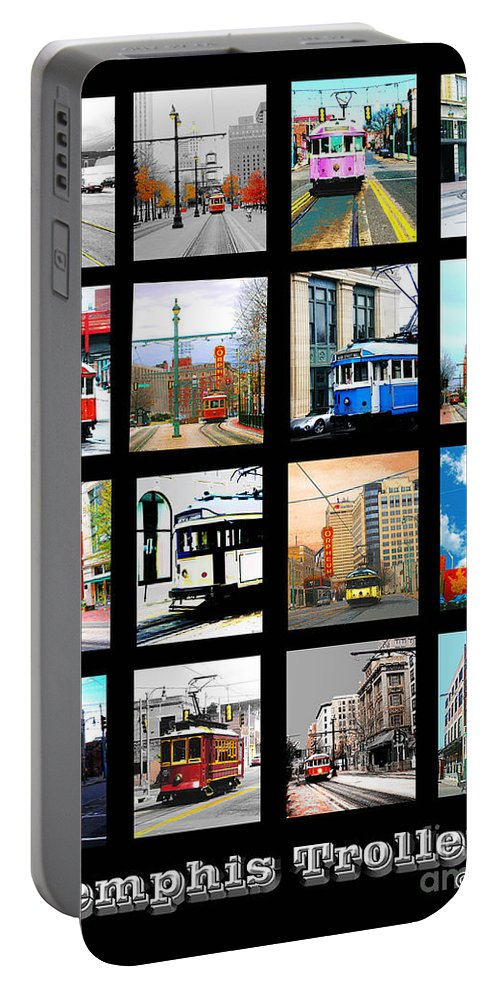 Cards Portable Battery Charger featuring the digital art Memphis Trolleys by Lizi Beard-Ward