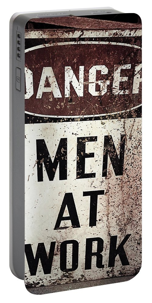 Laura Duhaime Photography Portable Battery Charger featuring the photograph Men At Work Sign by Laura Duhaime