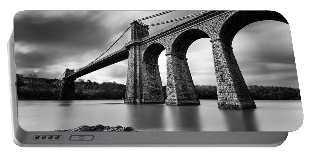 Menai Suspension Bridge Portable Battery Charger featuring the photograph Menai Suspension Bridge by Dave Bowman