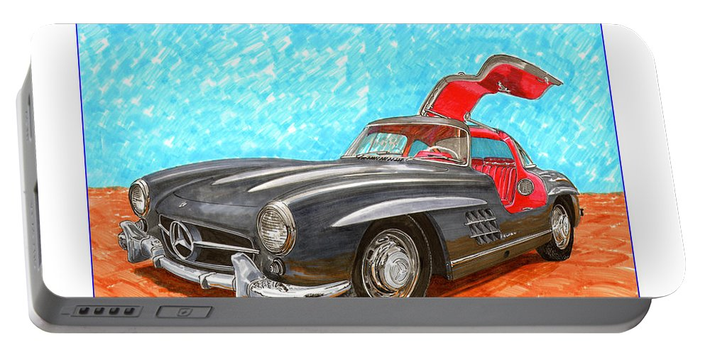 Mercedes Gull Wing Sl300 Portable Battery Charger featuring the painting Mercedes Benz 300 S L Gull Wing by Jack Pumphrey