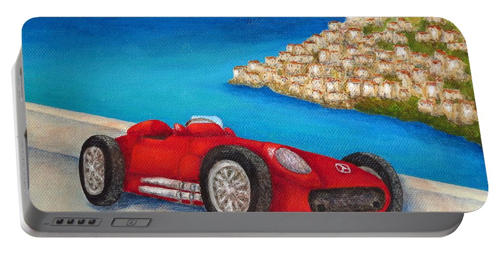 Allegretto Art Portable Battery Charger featuring the painting Mercedes Benz W196 Formula by Pamela Allegretto