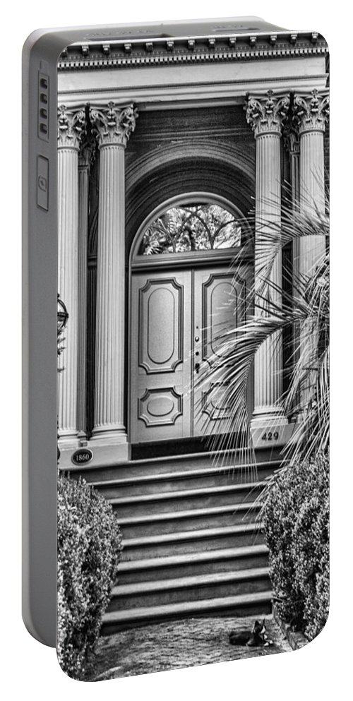 Savannah Portable Battery Charger featuring the photograph Mercer House Cat by Diana Powell