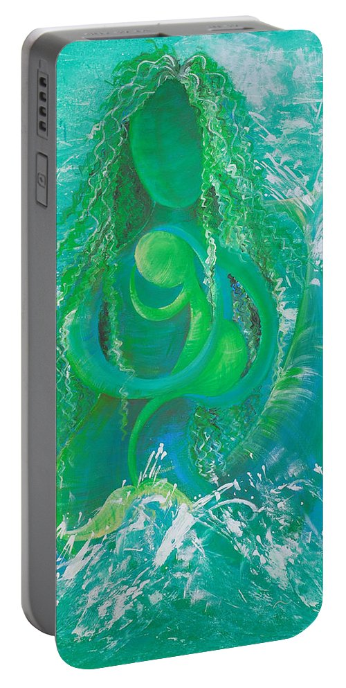 Merdonna Portable Battery Charger featuring the painting Merdonna by Catt Kyriacou