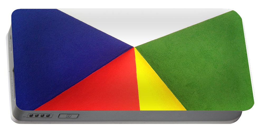 Color Blocking Portable Battery Charger featuring the photograph Merging Points by Art Block Collections