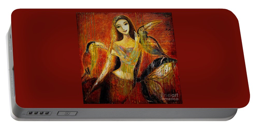 Mermaid Art Portable Battery Charger featuring the painting Mermaid Bride by Shijun Munns