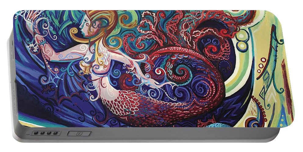Mermaid Portable Battery Charger featuring the painting Mermaid Gargoyle by Genevieve Esson