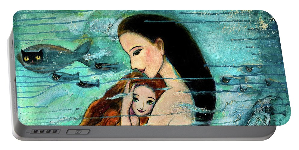 Mermaid Art Portable Battery Charger featuring the painting Mermaid Mother and Child by Shijun Munns