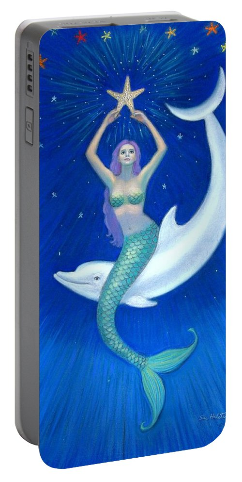 Mermaid Art Portable Battery Charger featuring the painting Mermaids- Dolphin Moon Mermaid by Sue Halstenberg