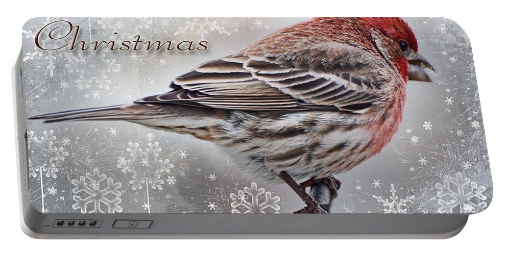 Nature Portable Battery Charger featuring the photograph Merry Christman Finch Greeting Card by Debbie Portwood