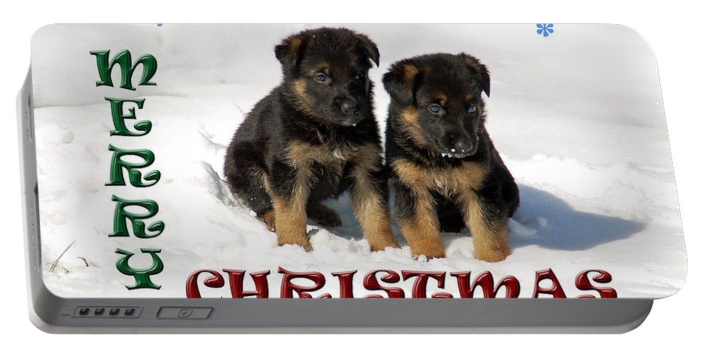 Christmas Card Portable Battery Charger featuring the photograph Merry Christmas Puppies by Aimee L Maher ALM GALLERY