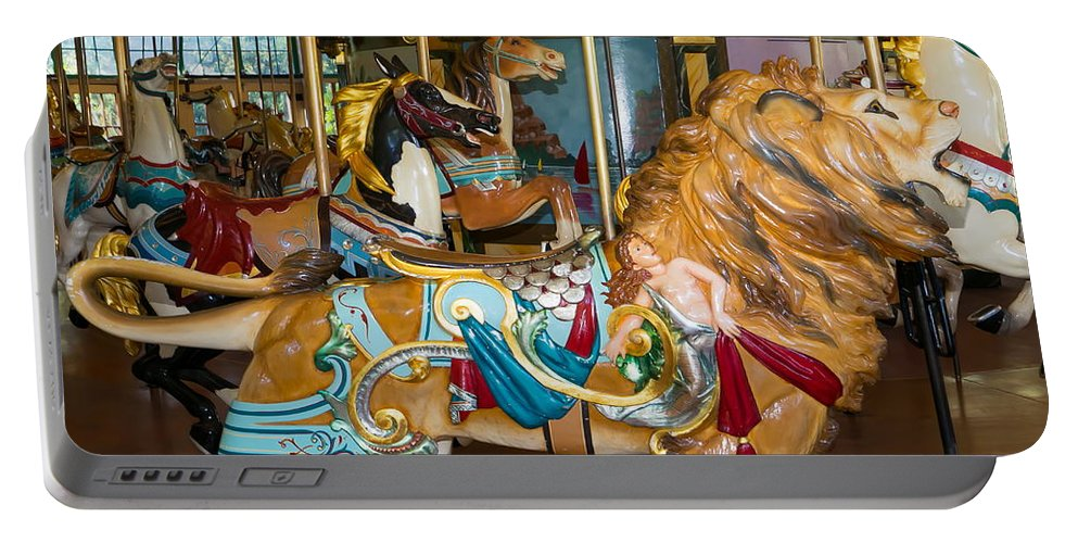 Merry Go Around Portable Battery Charger featuring the photograph Merry Go Around Dsc2966 Square by Wingsdomain Art and Photography