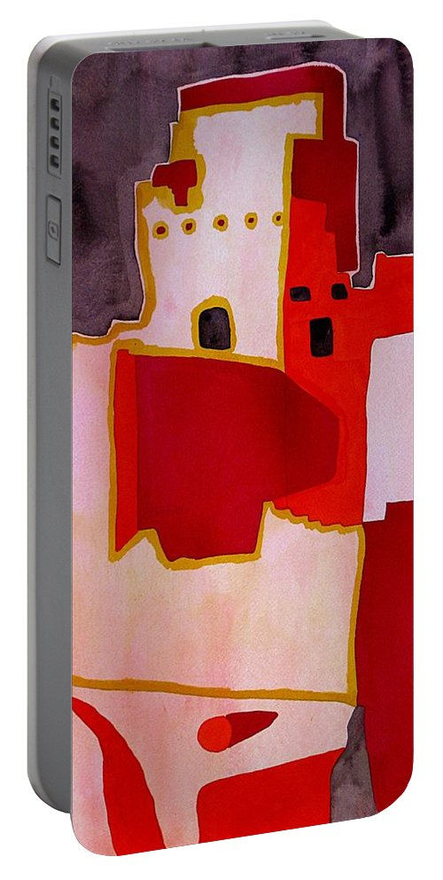 Colorado Plateau Portable Battery Charger featuring the painting Mesa Verde Original Painting Sold by Sol Luckman