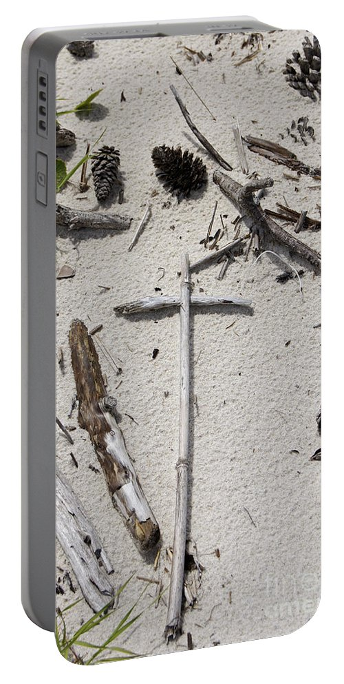 Sand Portable Battery Charger featuring the photograph Message In The Sand by Benanne Stiens