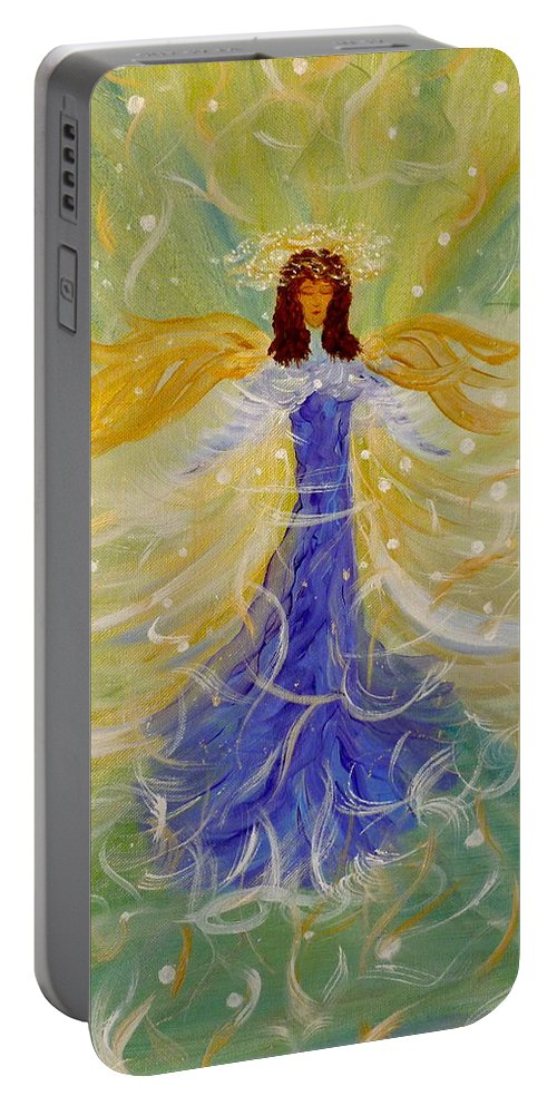 Angelic Being Portable Battery Charger featuring the painting Messages From M K by Sara Credito
