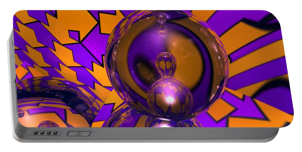 Abstract Portable Battery Charger featuring the digital art Meta Arrows by James Kramer
