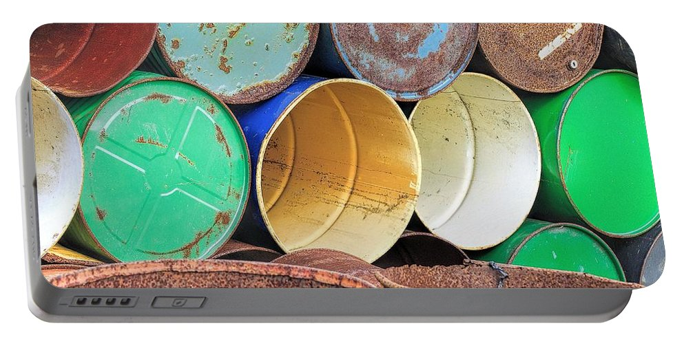 Abandoned Portable Battery Charger featuring the photograph Metal Barrels 2 by Rudy Umans