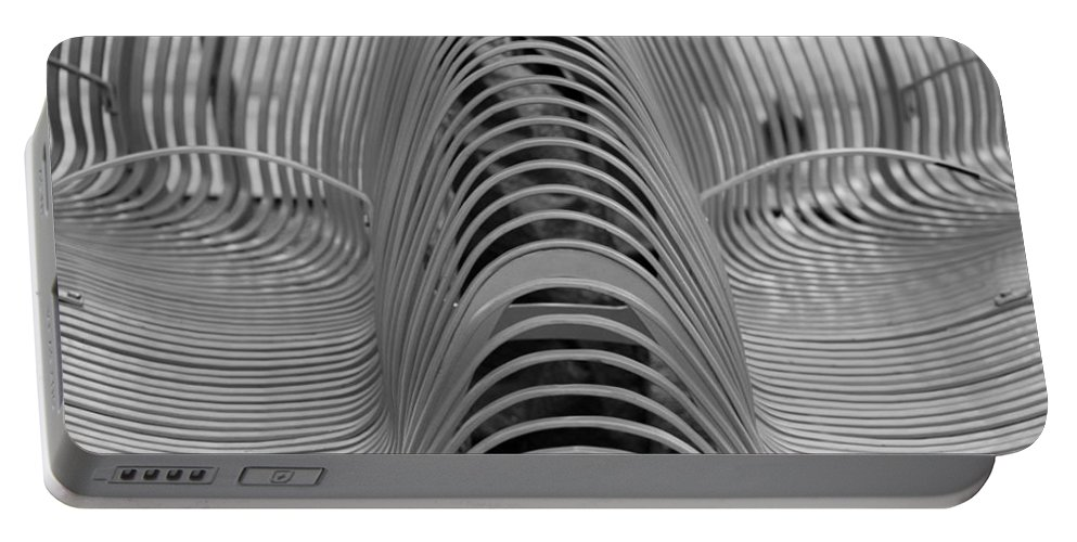 Abstract Portable Battery Charger featuring the photograph Metal Strips In Black And White by Rob Hans