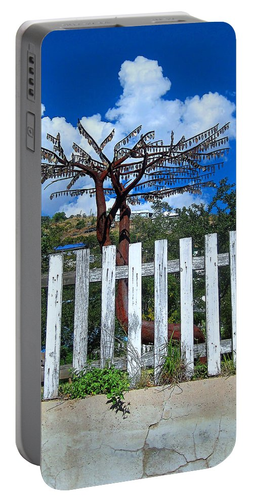 Rebecca Korpita Portable Battery Charger featuring the photograph Metal Art Tree Bisbee by Rebecca Korpita