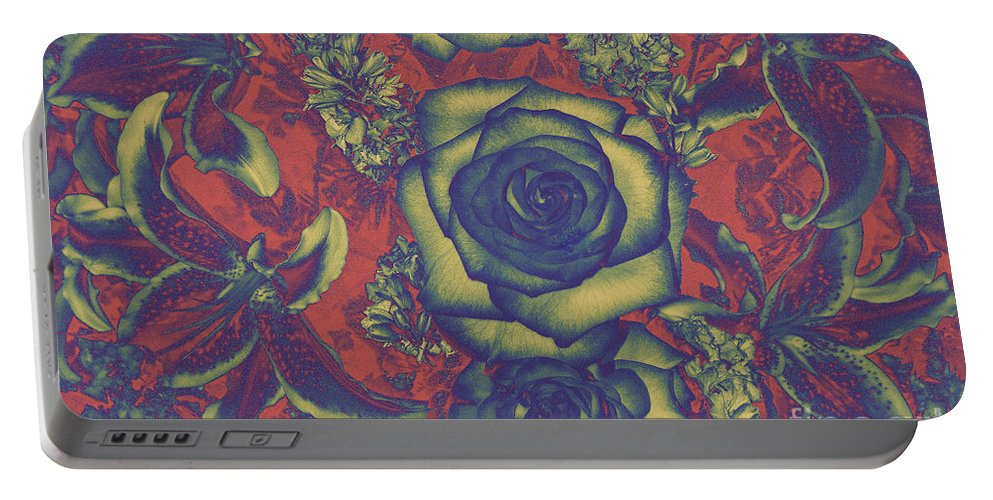 Abstract Landscape Photograph Of Roses And Other Flowers Portable Battery Charger featuring the photograph Metalic Rose by Mae Wertz