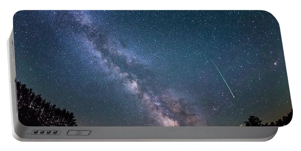 Meteor Portable Battery Charger featuring the photograph Meteor Milky Way by Michael Ver Sprill