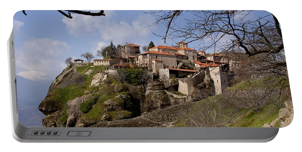 Meteora Monastary Portable Battery Charger featuring the photograph Meteora Monastary  #0679 by J L Woody Wooden
