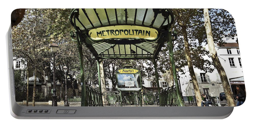 One Of The Many Beautiful Metro Entrances Build By Hector Guimard Between 1899 To 1905. This One Is In The Montmartre Area. Portable Battery Charger featuring the photograph Metropolitain Entrance Paris by Jennifer Ann Henry