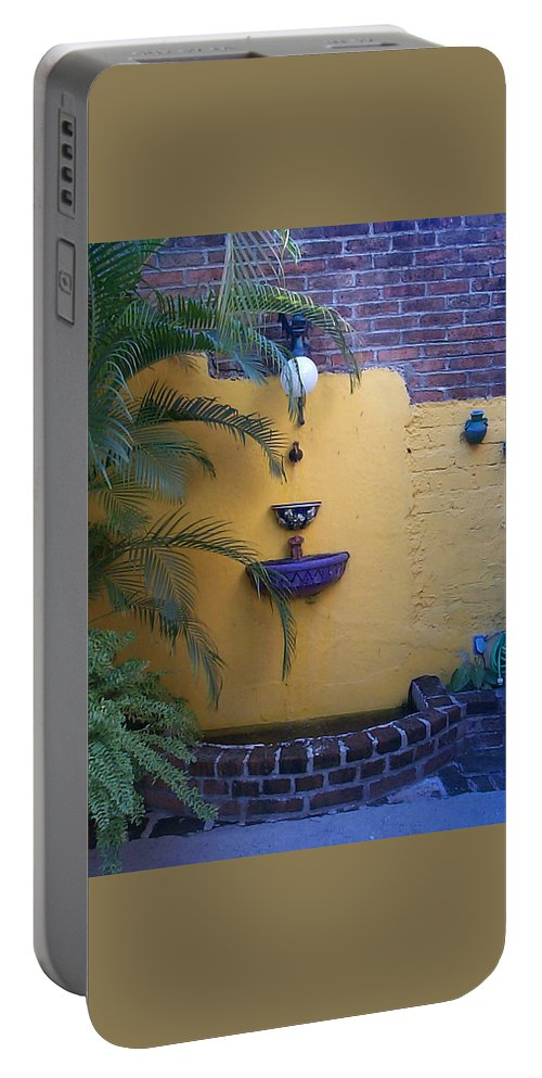 Mexico Portable Battery Charger featuring the photograph Mexican Courtyard by Kimberly Maxwell Grantier