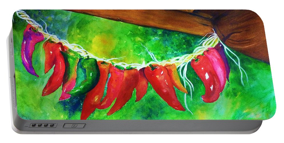 Hot Peppers Portable Battery Charger featuring the painting Hot Stuff by Jane Ricker