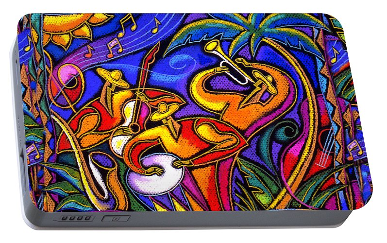 Jazz Paintings Paintings Portable Battery Charger featuring the painting Latin Music by Leon Zernitsky