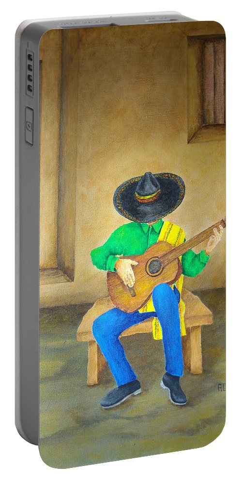 Pamela Allegretto Portable Battery Charger featuring the painting Mexican Serenade by Pamela Allegretto