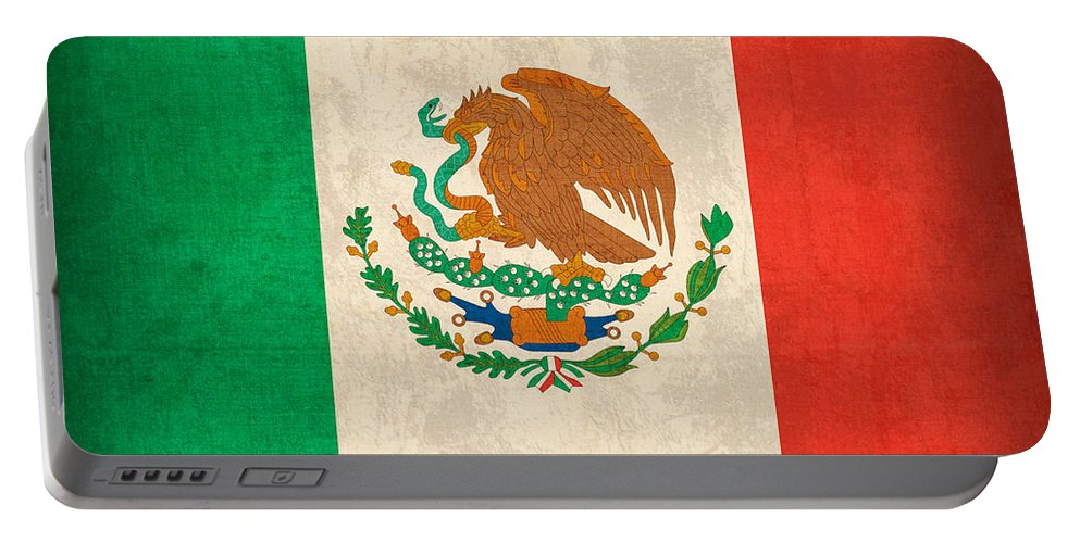 Mexico Flag Vintage Distressed Finish Portable Battery Charger featuring the mixed media Mexico Flag Vintage Distressed Finish by Design Turnpike