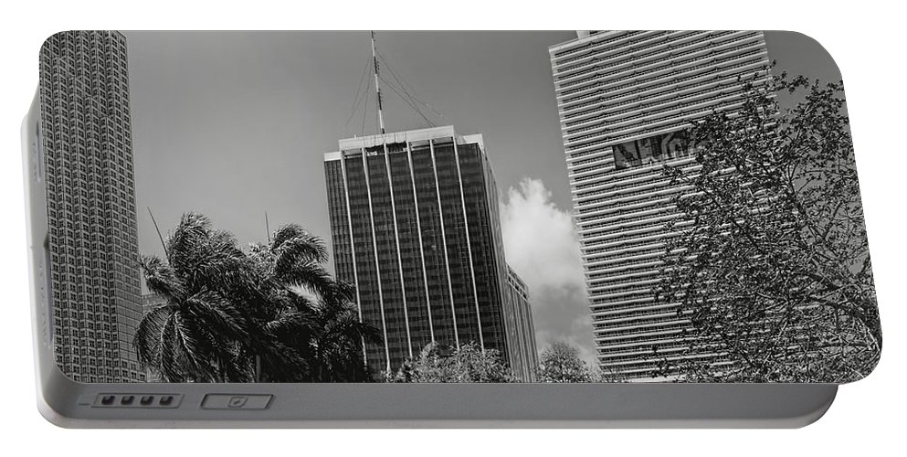 Park Portable Battery Charger featuring the photograph Miami Cityscape Bw by Rudy Umans