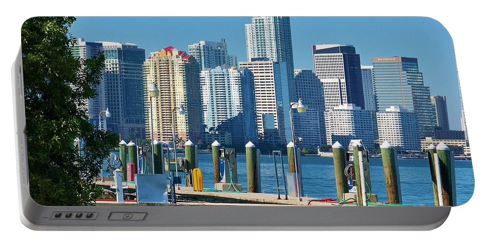 Dock Portable Battery Charger featuring the photograph Miami On The Docks by Chuck Hicks