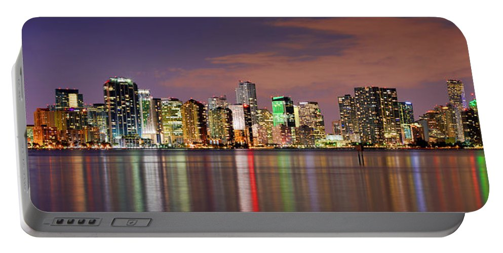 Miami Portable Battery Charger featuring the photograph Miami Skyline At Dusk Sunset Panorama by Jon Holiday