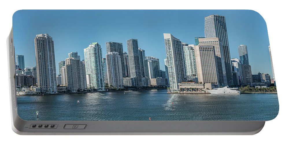 Photography Portable Battery Charger featuring the photograph Miami Skyline, Miami-dade County by Panoramic Images