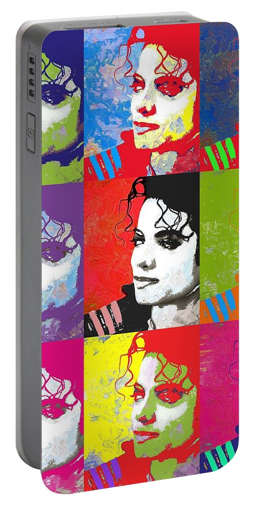 Michael Portable Battery Charger featuring the digital art Michael Jackson Andy Warhol Style by Linda Mears