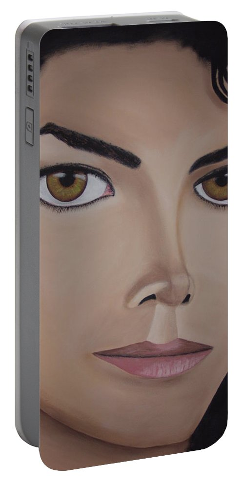 King Of Pop Portable Battery Charger featuring the painting Michael Jackson by Dean Stephens