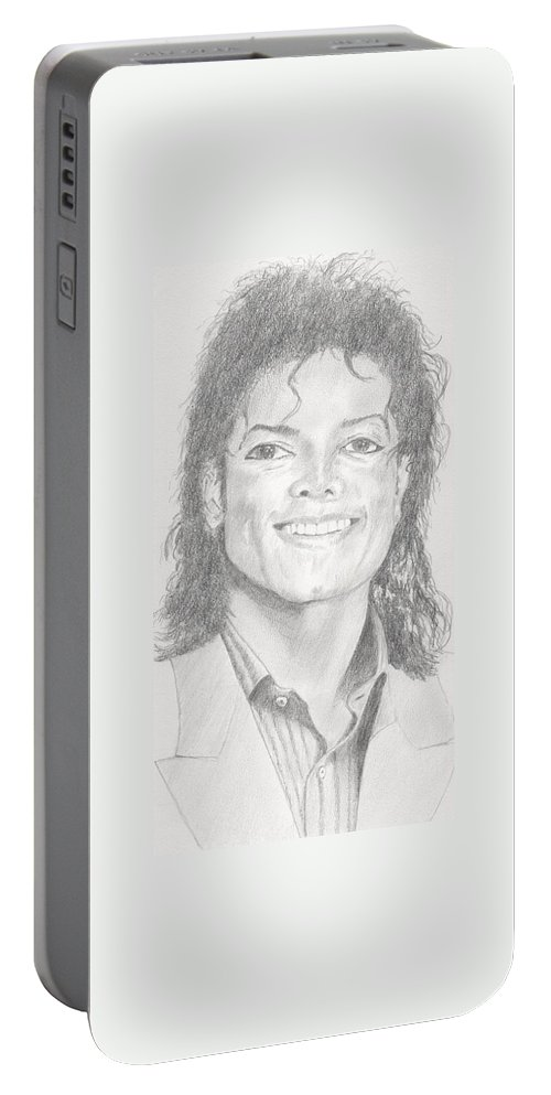 Michael Jackson Portrait. Portable Battery Charger featuring the drawing Michael Jackson by Keith Miller