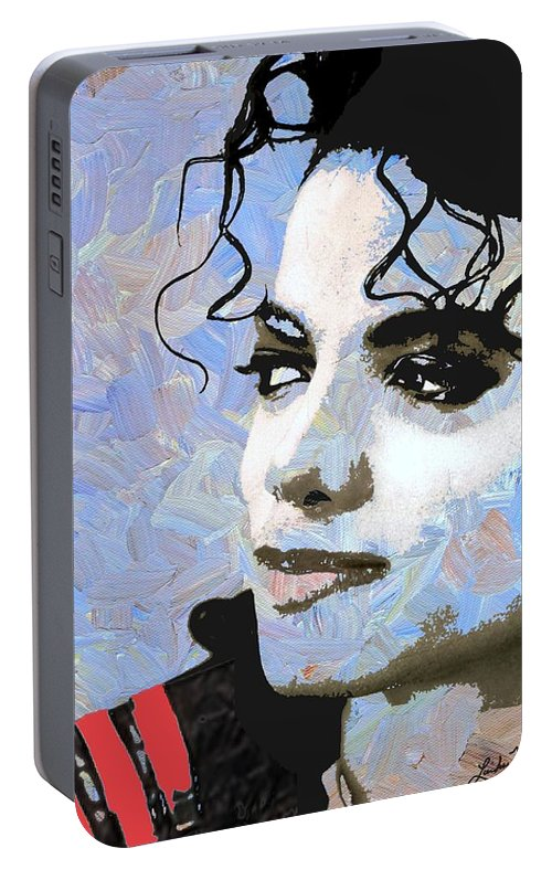 Michael Jackson Portable Battery Charger featuring the digital art Michael Jackson Blue And White by Linda Mears